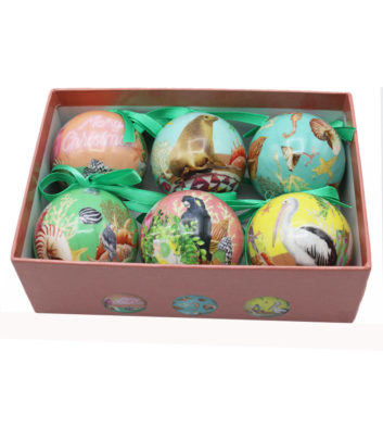 Coastal Abode Christmas Mini Bauble Set Of 6