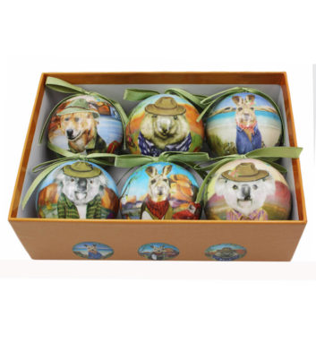 Sunny Outback Christmas Mini Bauble Set Of 6