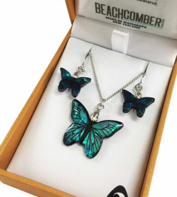 Paua Shell Butterfly Pendant & Earrings