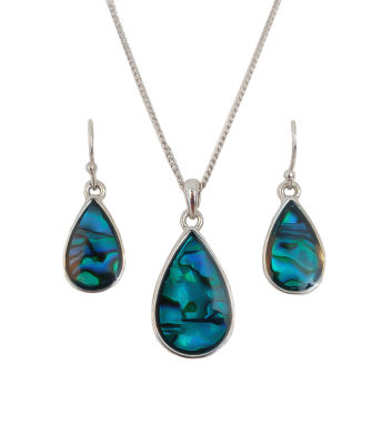 Paua Shell Teardrop Necklace & Earring Set